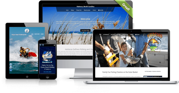 Example of responsive website designs by OBXOPS shown on multiple devices.