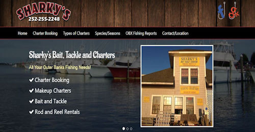 Thumbnail of Sharky's Bait, Tackle and Charter Booking Website Design by OBXOPS