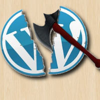 Wordpress logo cut with ax
